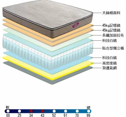 [睡眠達人SL4301]國家專利,強化型獨立筒床墊,天絲棉,記憶綿,提升全面支撐,特大雙人,MIT(送USB保暖毯)