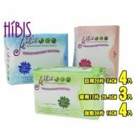 HIBIS木槿花草本超薄瞬潔組合-日用20片x4包+夜用12片x3包+護墊30片x4包