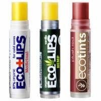 美國ECO LIPS 依蔻麗唇 有機護唇膏3入組-修護+香草+夢幻桃紅各1