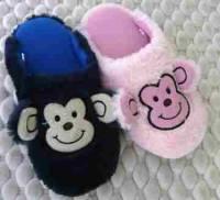 e鞋院 【可愛小猴】絨毛兒童室內拖鞋
