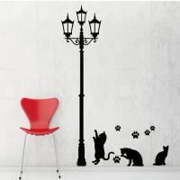 【Smart Design】創意無痕壁貼◆燈光下的貓咪 高150公分