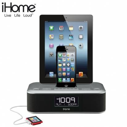 iHome iDL100 雙插座音樂播放器 for iPhone5/5s (送瑞士設計復古電話)