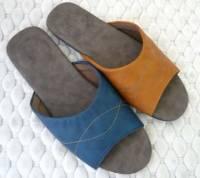 e鞋院 古典渲彩按摩軟皮室內拖鞋