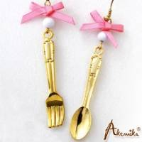 《Akemika》俏皮童心 可愛餐具緞帶耳環 -