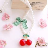 《Akemika》淘氣公主風 晶透櫻桃珍珠項鍊 *