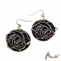 《Akemika》玫瑰迷情 古銅雙面造型耳環 *