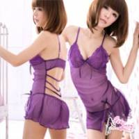 《Fee Sexy》魅紫夢露 側衩美背網紗性感睡衣