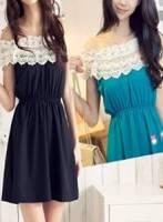 《完美比例》春裝新款韓國雜誌款蕾絲領連身裙 二色