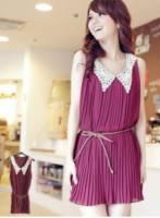 《正品玫瑰園》唯美輕甜花網V領腰帶連衣裙-紫紅 *附綁帶