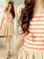 《正品玫瑰園》香氛甜美條紋拼接連衣裙 現+預 2色
