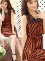 《正品玫瑰園》復古時髦條紋蕾絲連衣裙 現+預 2色