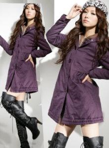 《正品玫瑰園》都會時尚假兩件雙層連帽保暖外套-紫XXL