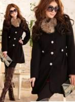 《正品玫瑰園》華麗貴族飾釦皮草大衣外套-黑L