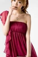 《正品玫瑰園》名媛單肩荷葉袖晚宴小洋裝