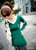 韓國keithwill 加大數字線條長袖棉T加大碼-綠