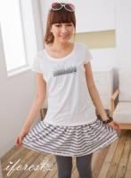《iforest》12047輕夏雪紡飄逸短裙 灰白條紋棉質F