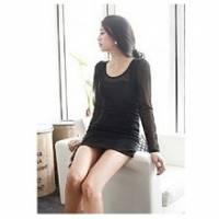 《INTRY》性感透明網紗連身裙-黑色