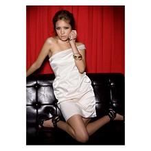 《INTRY》斜肩雙肩帶緞面洋裝(2色)
