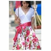 《INTRY》交叉V領花紋連身洋裝 2色
