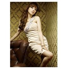 《INTRY》奢華寶石抓皺緞面洋裝(2色)