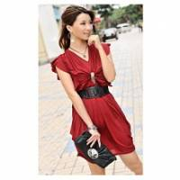 《INTRY》復古柔美褶皺V領優雅洋裝-棗紅色