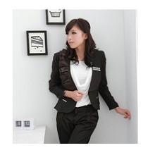 《INTRY》不對稱亮片收腰外套西服-黑色