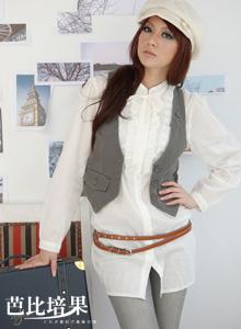清新素人˙立領荷葉蕾絲邊洋裝˙米白