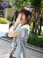 C+M+S~夏~圓型露肩豹圖前短後長上衣【CS015047】-灰 -