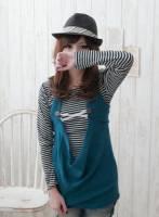 【蜜糖'Dolly Bird】實搭穿著二件式條紋針織背心 藍