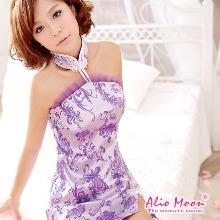 《Alio Moon》富貴風華‧織花旗袍二件組(紫)