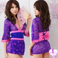《Ayoka》櫻花之歌!性感三件式和服組 深紫