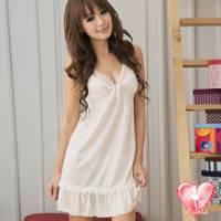 《Ayoka》潔白天使!蕾絲造型裙擺睡襯衣