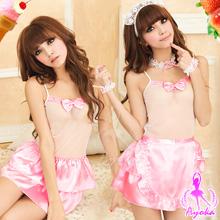 《Ayoka》甜蜜女友!貼心女傭七件組-白+粉紅