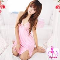 《Ayoka》冰沁美人!性感繞頸睡襯衣 粉紅 *