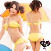 《Sani Sani》俏麗荷葉 繞頸中空比基尼泳裝 黃M