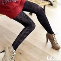 《kozue》時尚線條 橫條+小格 造型黑褲襪 *