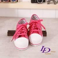 《LD image》玩色主義 搶眼時尚綁帶亮片厚底增高帆布鞋(桃紅)