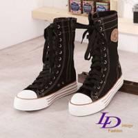 《LD Image》玩美學院‧街頭焦點壓徽LOGO中筒厚底增高帆布鞋