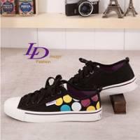 《LD image》韓流潮點.菱格品味繽紛調色盤式帆布鞋