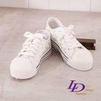 《LD image》耀眼仲夏 繽紛鑽美厚底增高帆布鞋 甜美白