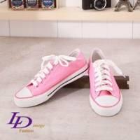 《LD image》漫步圓舞曲 嫩粉色調點點網狀綁帶帆布鞋