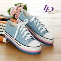 《LD image》時髦穿搭˙復古帆布彩色厚底帆布鞋.藍