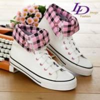 《LD image》風格百變˙漆皮長筒2WAY帆布鞋.粉白