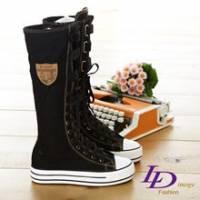 《LD image》名模打造˙超長筒厚底休閒綁帶帆布鞋.黑