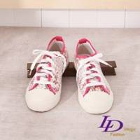 《LD image》吉普賽女孩 芳漾印花綁帶帆布鞋