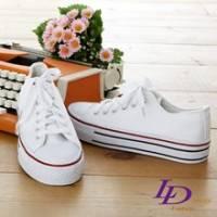 《LD image》時尚定番˙增高厚底素面線條帆布鞋.白