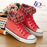 《LD image》風格百變˙漆皮長筒2WAY帆布鞋.橘紅