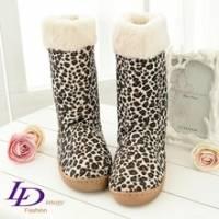 《LD image》甜美悄皮.個性雲豹紋休閒雪靴(氣質白)