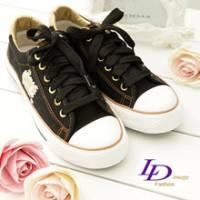 《LD image》搖滾熱情 金邊LOVE'S拼圖壓徽帆布鞋(閃耀黑)
