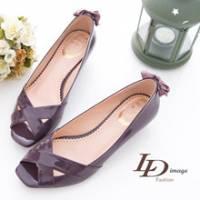LD image 低調簡約-漆皮交叉露趾低跟鞋-紫